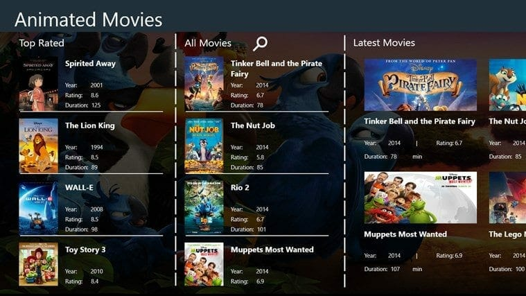 Main Page Screen Shot Animated Movies HD
