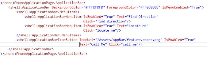 Application bar Menu Items