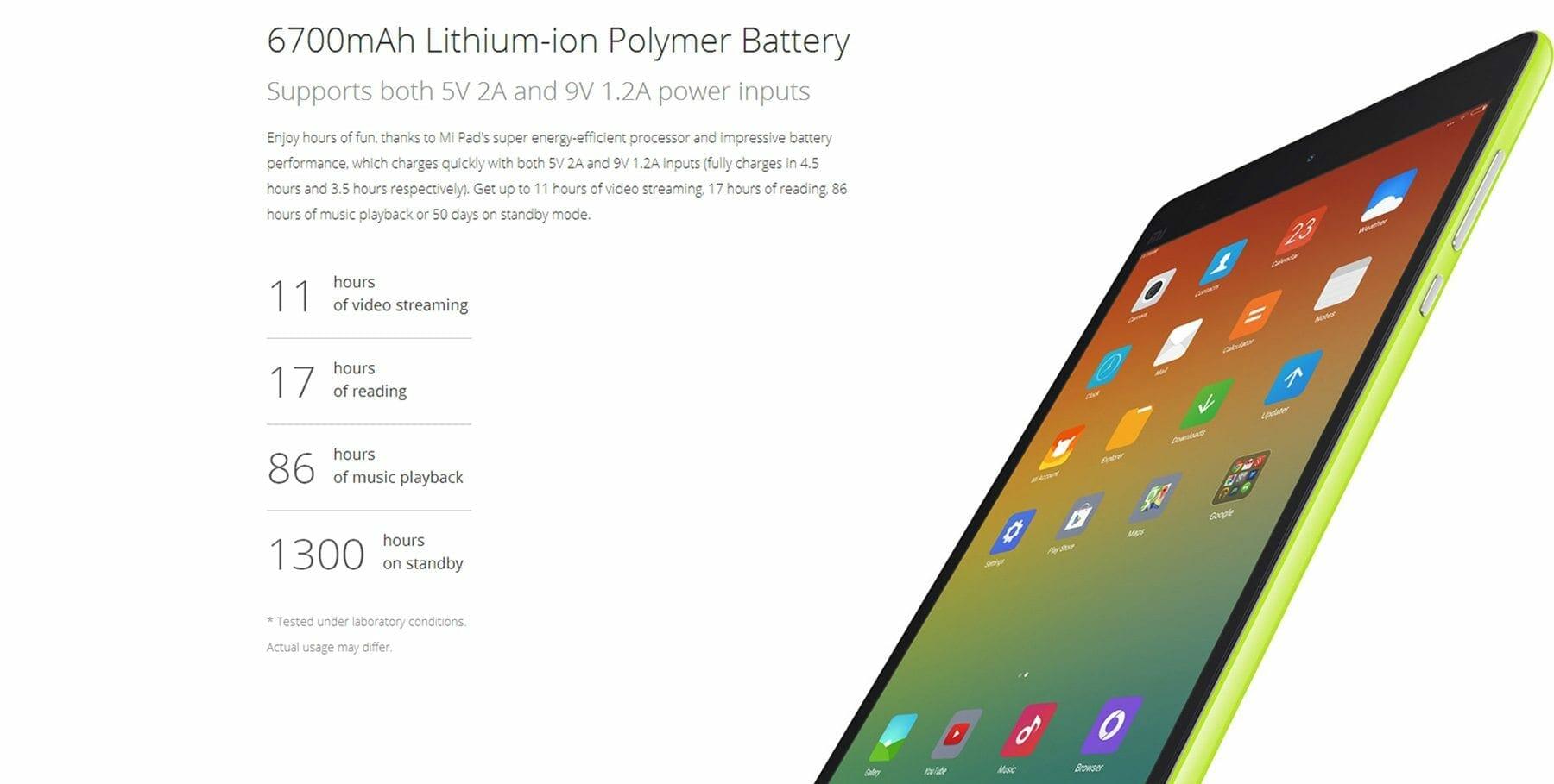 XiaoMi Mi Pad Battery - XiaoMi Mi Pad 8MP Camera, 2GB Ram and 6700 mAh Battery