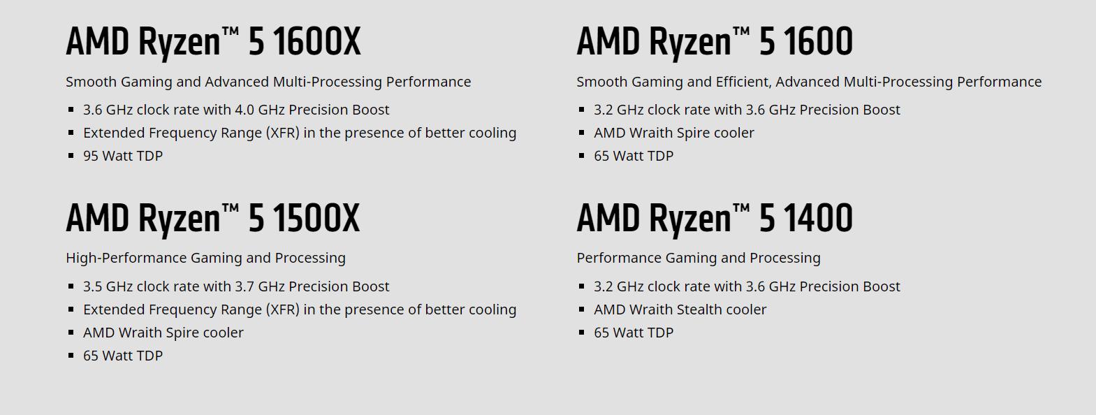 Amd Ryzen 5 Processors Specs