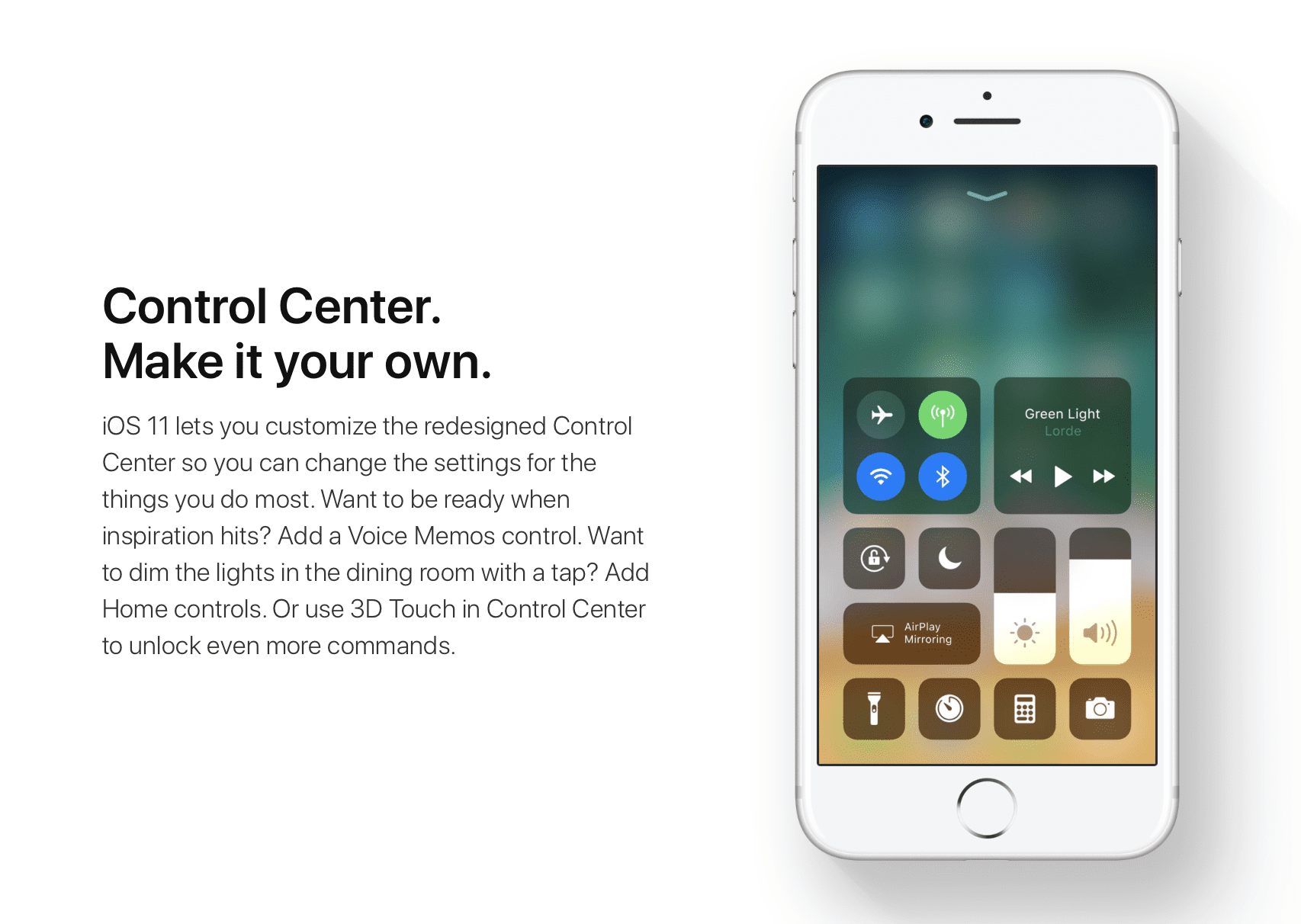 iOS 11 Control Center for iPhone and iPAd