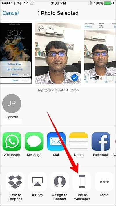 iOS photos share wallpaper