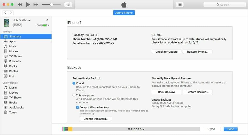 iTunes iPhone Restore