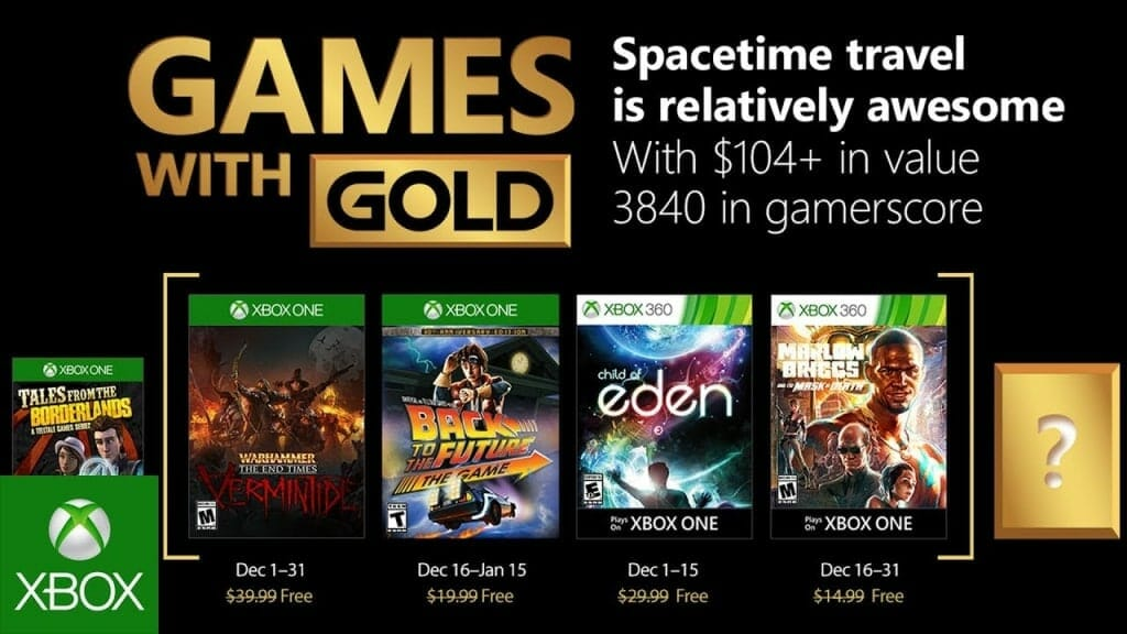 Xbox Games With Gold for December go Back to the Future