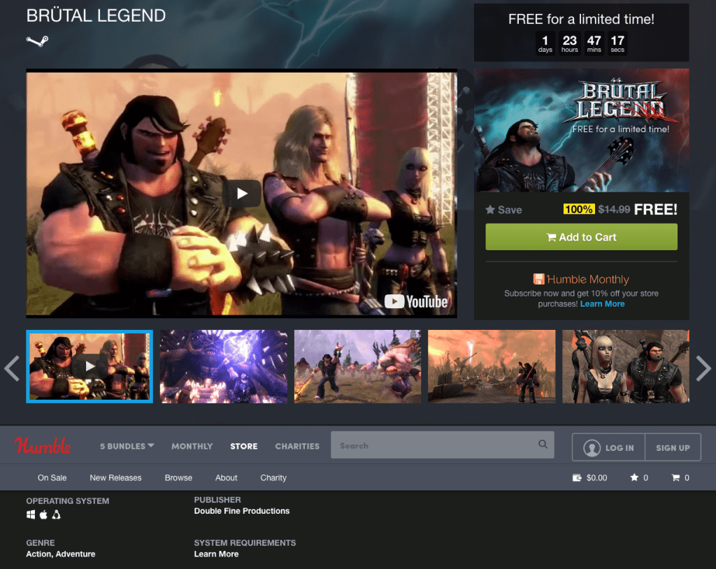 Brutal Legend For Free On The Humble Store For 48 Hours