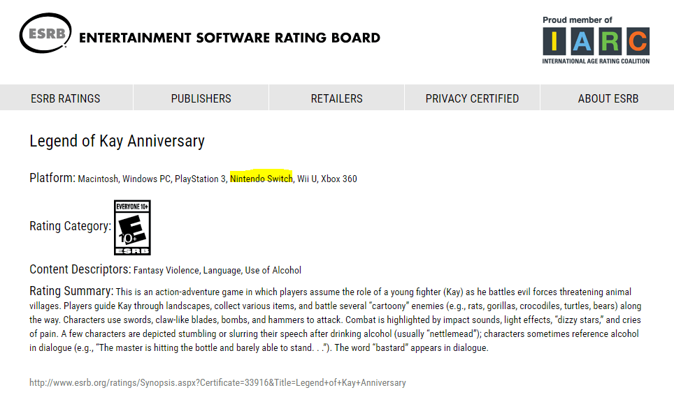 Legend of Kay Anniversary ESRB