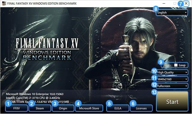 Final Fantasy XV benchmark tool.