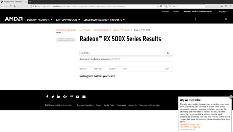 AMD Radeon RX 500X Sereis GPU