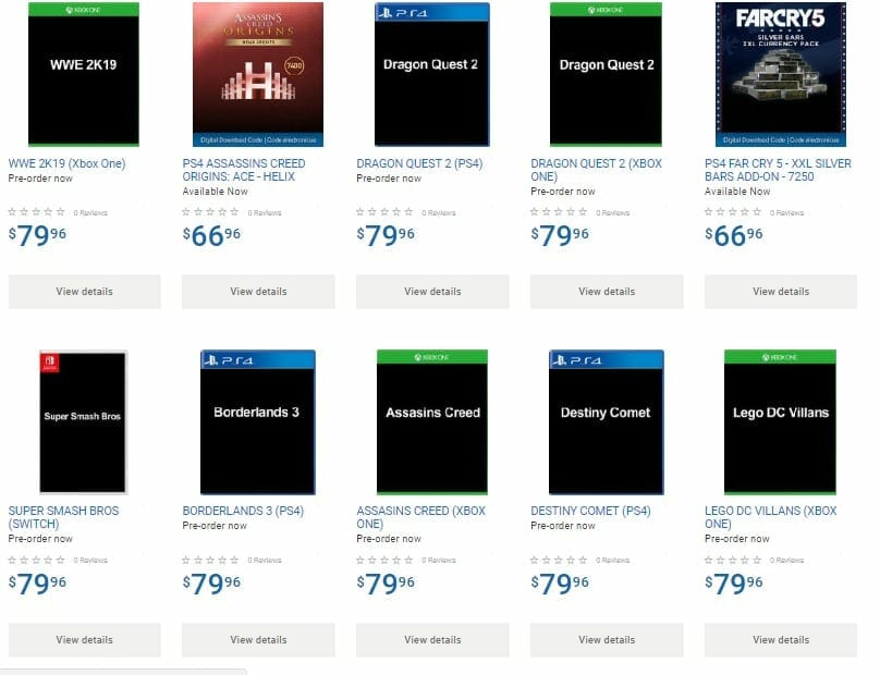 Walmart Canada posts product pages for several unannounced games