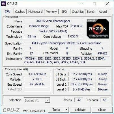 AMD Ryzen 4 - AMD Ryzen Threadripper 2990X Specs, Benchmarks and CPU-Z Screenshots