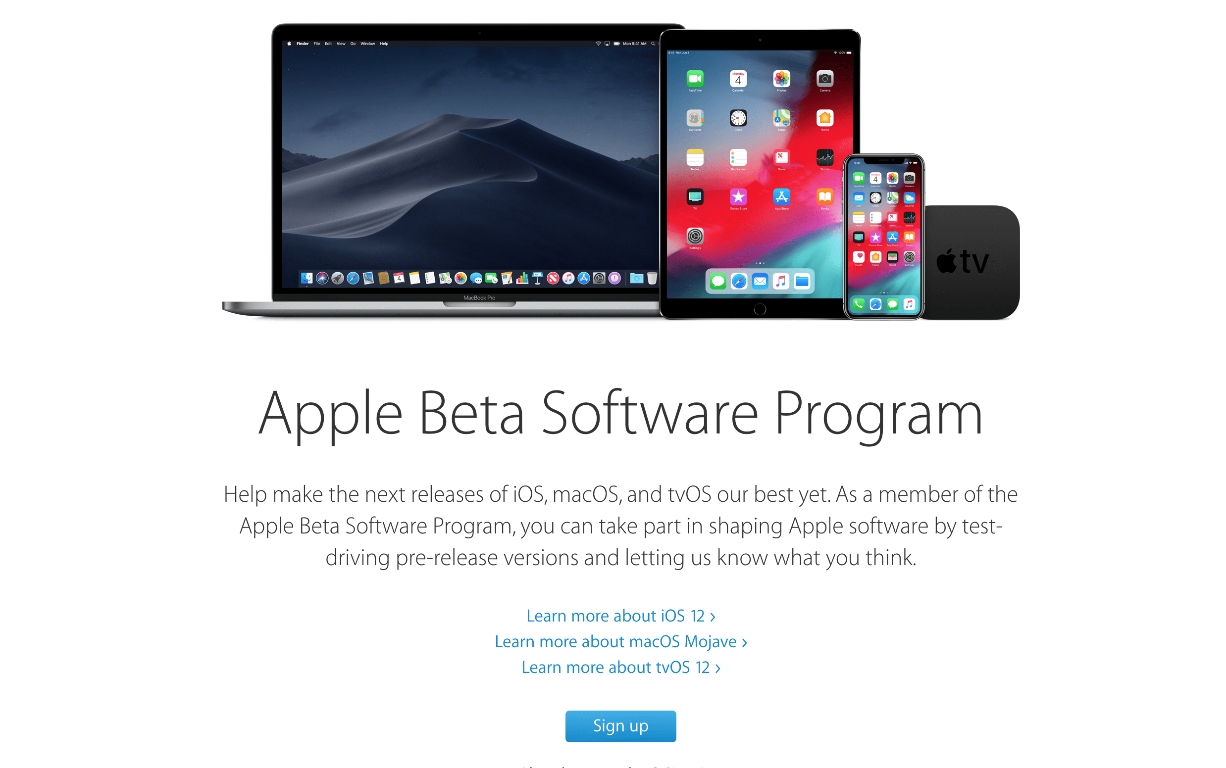 Apple Signup iOS 12 Public Beta