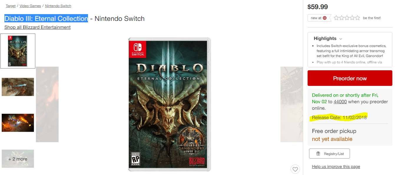 Diablo 3 for Nintendo Switch Release Date