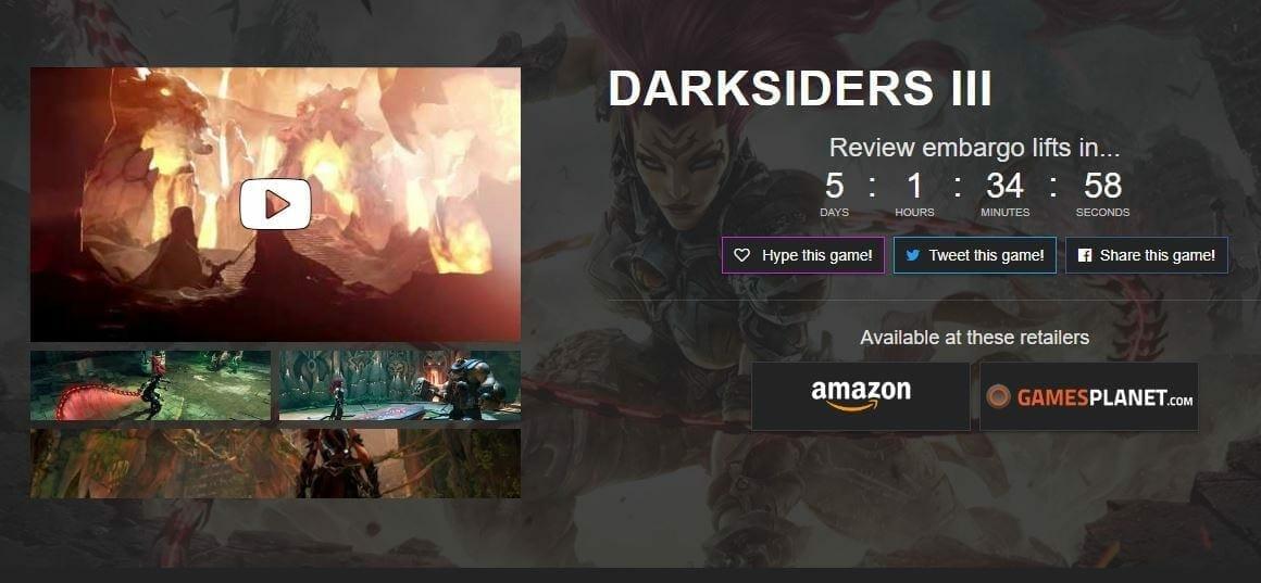 Darksiders 3 Review embargo