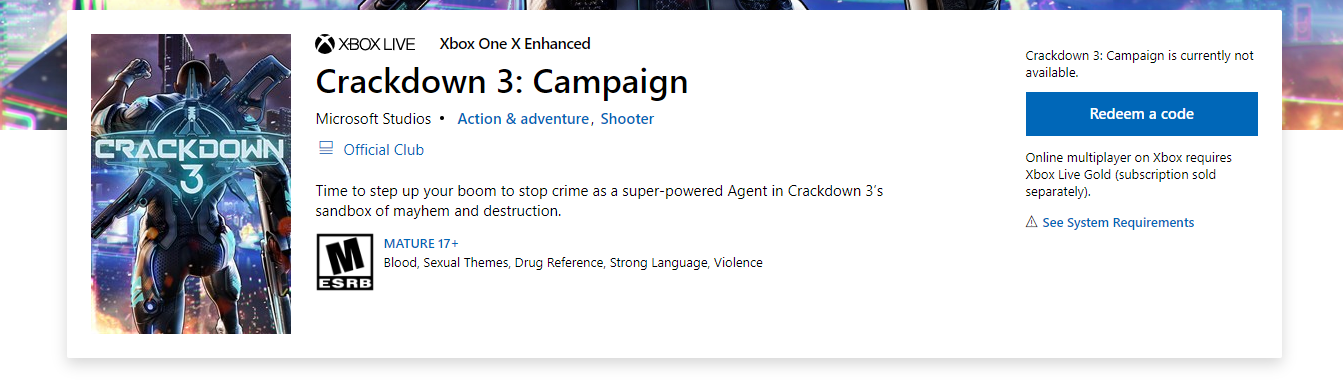 campaign - Crackdown 3 Campaign Listed Separately - Online and Multiplayer Separate Deal?