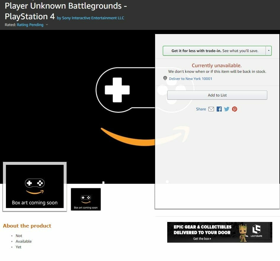 PUBG Listed for PS4 on Amazon
