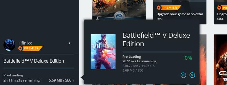 Battlefield V PC pre-load