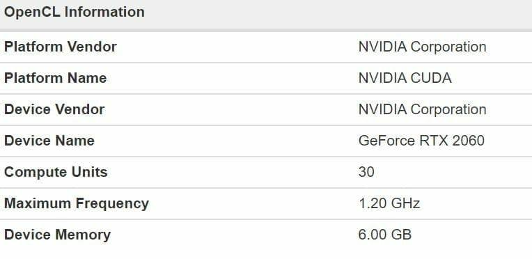 Nvidia GeForce RTX 2060 OC Specs