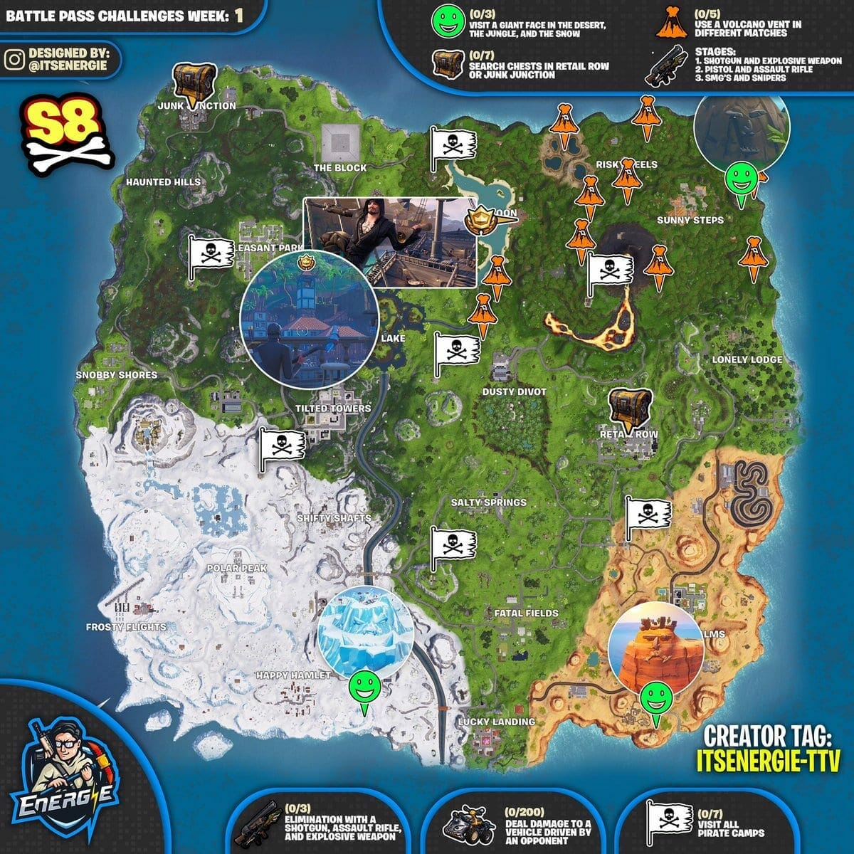 Fortnite Season 8 Week 1 cheat sheet