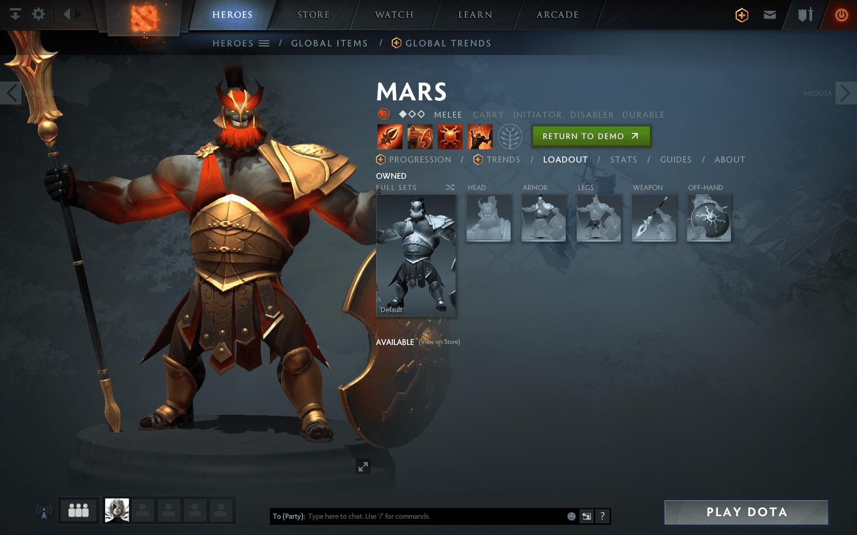 Dota 2 hero Mars in-game screenshot