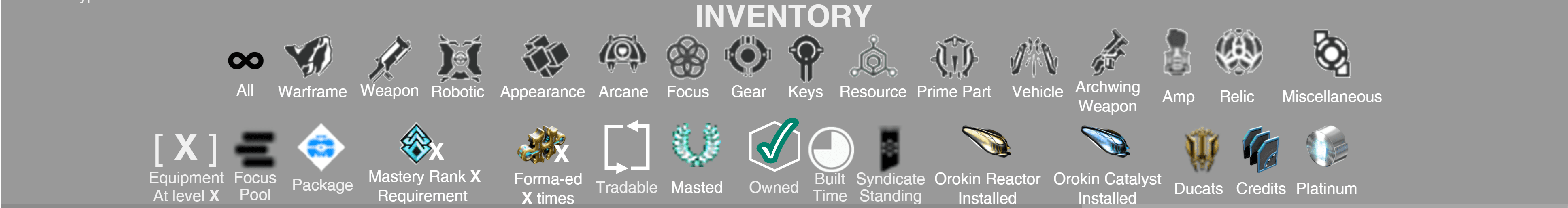 Warframe Inventory and Item Icons