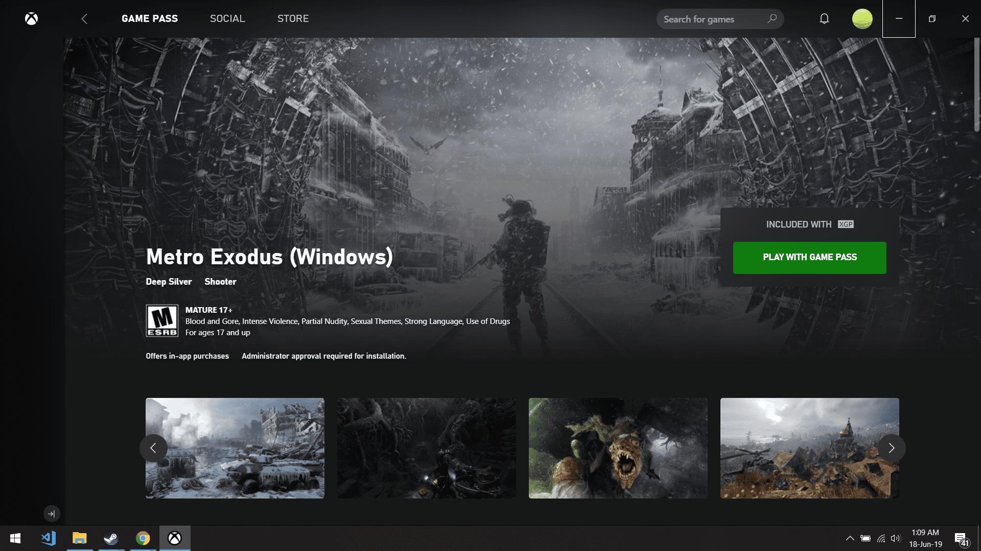 Metro Exodus on Xbox Game Pass for PC