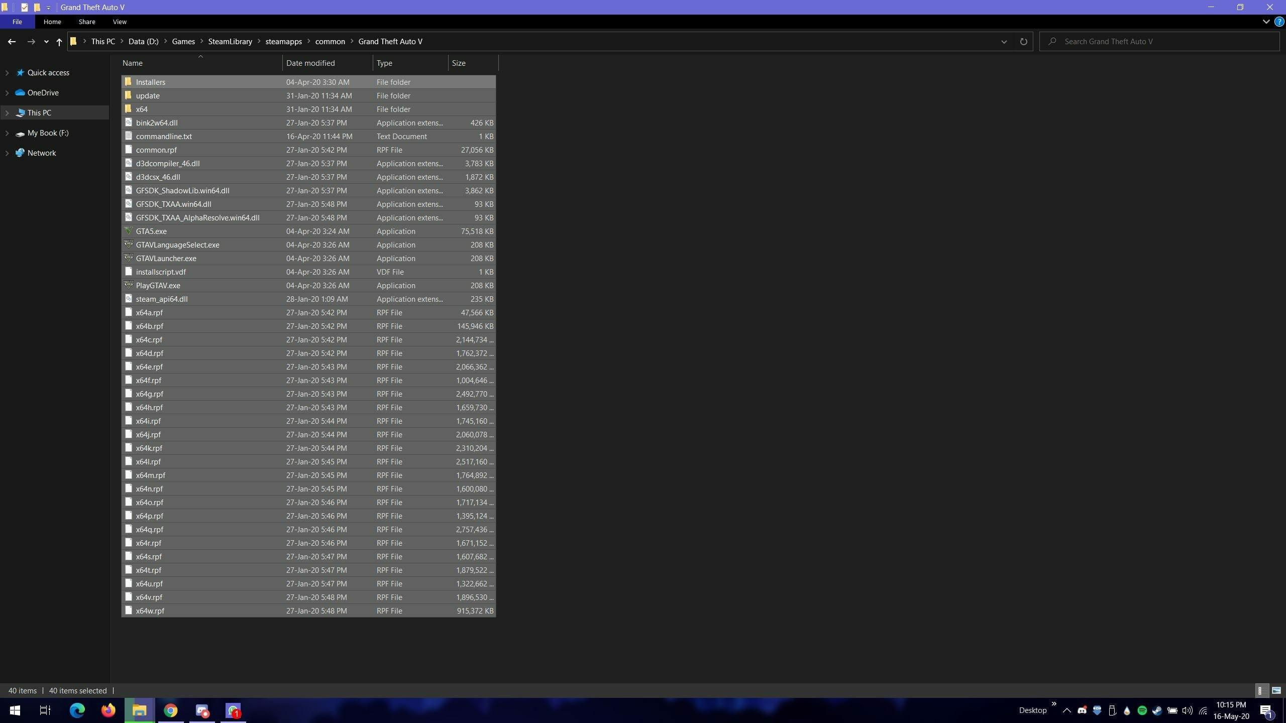 GTA V on Steam Installed Files