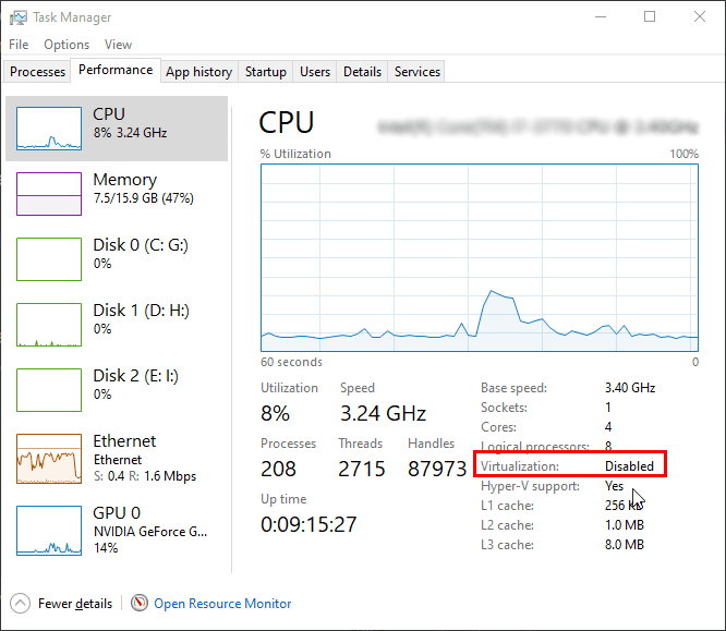 Virtualization in Task Manager