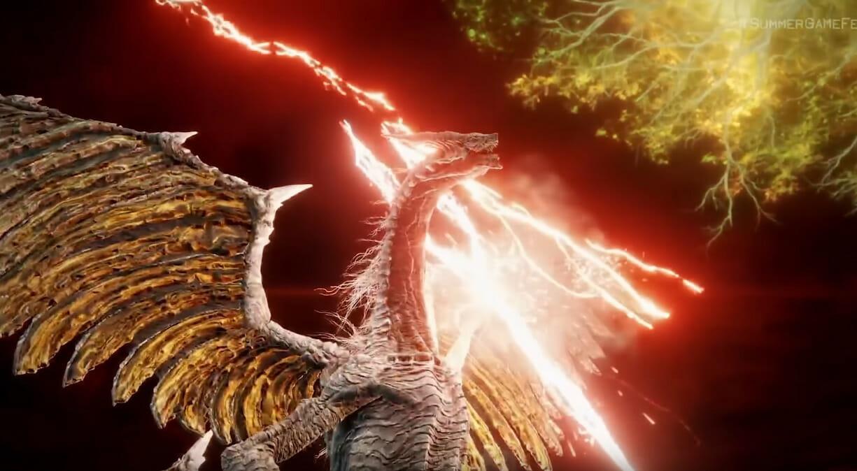 Dragon in elden ring trailer wielding lightning