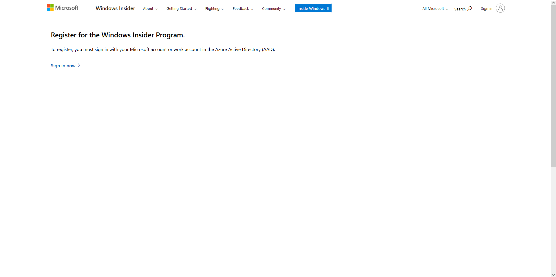 Step 1 for registering windows insider program for downloading windows 11 preview