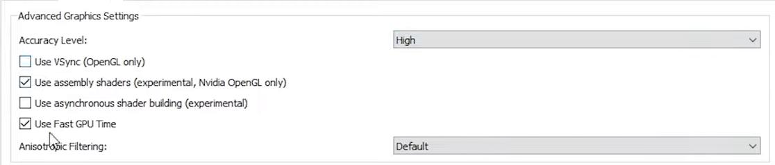 Graphics yuzu settings  for Yuzu Nintendo Switch Emulator