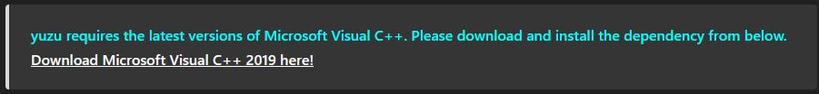 download microsoft visual C++ for Yuzu Nintendo Switch Emulator