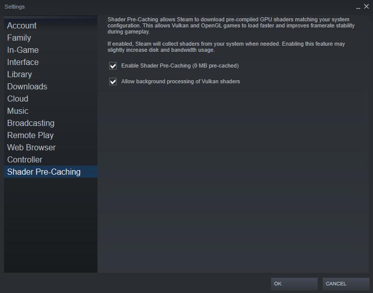 screenshot of steam settings for fixing Red Dead Redemption 2 #FFFFFFFF error