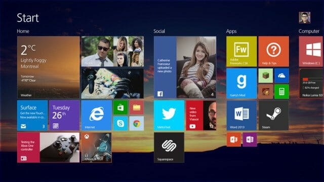 Windows 8.2 Start Menu Windows 8.2 Concept shows Modern UI on the Desktop