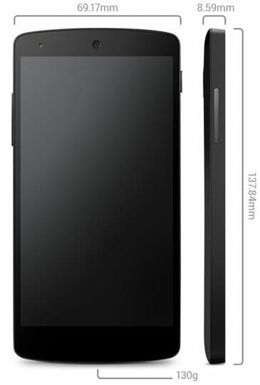 Google Nexus 5 Dimension