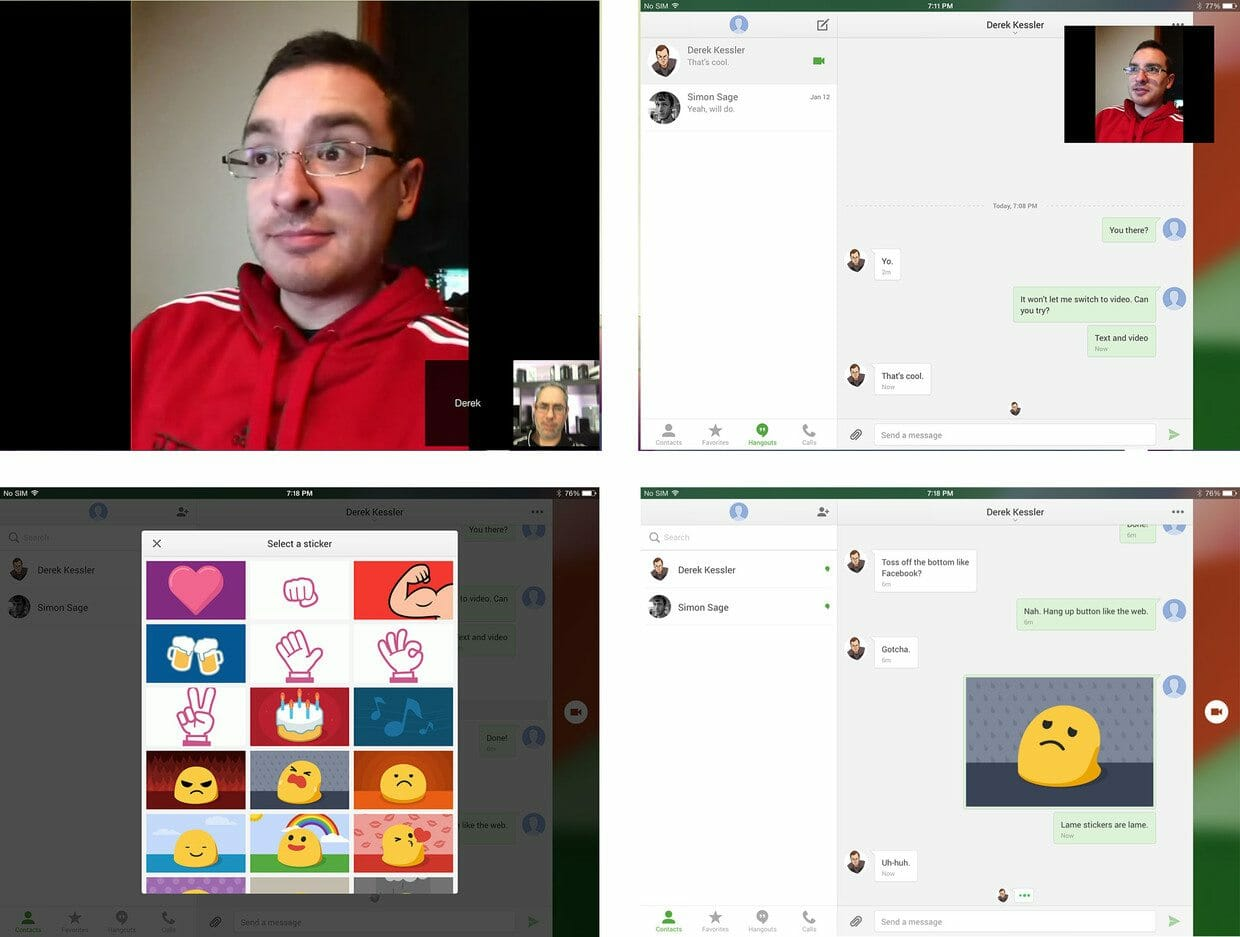 hangouts on ipad screens